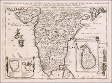 India and Sri Lanka Map By Vincenzo Maria Coronelli
