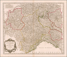 Switzerland, France and Northern Italy Map By Gilles Robert de Vaugondy