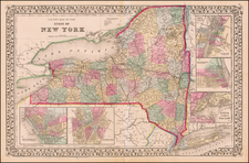 New York State Map By Samuel Augustus Mitchell Jr.