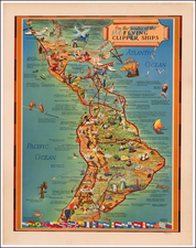 North America, South America and America Map By Kenneth W. Thompson