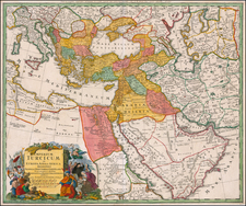 Turkey, Middle East and Turkey & Asia Minor Map By Johann Baptist Homann