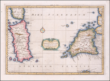 Sardinia and Sicily Map By  Gerard Mercator
