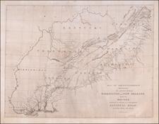 South, Alabama, Southeast, Virginia, Georgia, North Carolina and South Carolina Map By Gales & Seaton