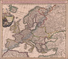 Europe and Celestial Maps Map By Johann Baptist Homann / Johann Gabriele Doppelmayr