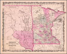 Minnesota, North Dakota and South Dakota Map By Benjamin P Ward  &  Alvin Jewett Johnson