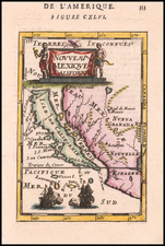 Baja California, California and California as an Island Map By Alain Manesson Mallet