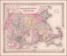 New England, Massachusetts and Rhode Island Map By Joseph Hutchins Colton
