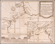 Atlantic Ocean, Pacific Ocean, Alaska, North America, America and Curiosities Map By Giovanni Rinaldo Carli