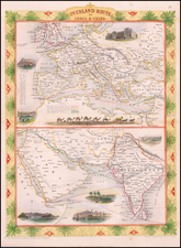 Europe, India, Central Asia & Caucasus and Middle East Map By John Tallis