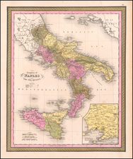 Italy and Southern Italy Map By Samuel Augustus Mitchell