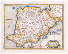 Spain and Portugal Map By  Gerard Mercator