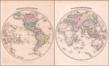 World and World Map By Joseph Hutchins Colton