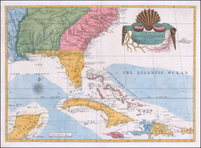 Florida, South, Southeast, North Carolina, South Carolina, Caribbean and Bahamas Map By Mark Catesby