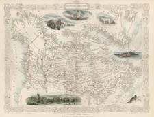 World, Polar Maps, Alaska, Canada, South America and America Map By John Tallis