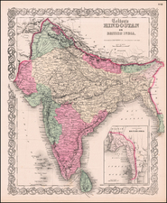Asia, Asia and India Map By Joseph Hutchins Colton