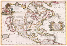 United States, Texas, Midwest, Southwest, North America and California as an Island Map By Vincenzo Maria Coronelli