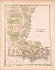 Louisiana and Arkansas Map By Thomas Gamaliel Bradford