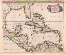 Florida, South, Southeast, Caribbean and Central America Map By Cornelis II Danckerts
