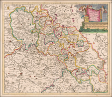 Poland and Czech Republic & Slovakia Map By Theodorus I Danckerts
