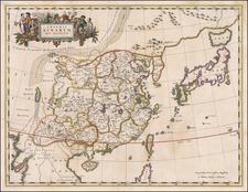 China and Korea Map By Johannes Blaeu