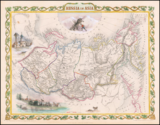 Polar Maps, Central Asia & Caucasus and Russia in Asia Map By John Tallis