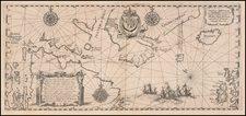 Tabula Nautica qua repraesentatur orae maritimae, meatus, ac freta, noviter a H Hudsono Anglo ad Caurum supra Novam Franciam indagata Anno 1612 By Theodor De Bry
