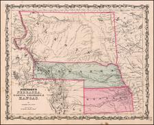 Johnson's Nebraska, Dakota, Colorado & Kansas By Benjamin P Ward  &  Alvin Jewett Johnson