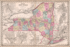 New York State Map By Joseph Hutchins Colton