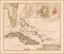 Florida, Cuba and Bahamas Map By Reiner & Joshua Ottens