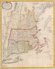 New England, Connecticut, Maine, Massachusetts, New Hampshire, Rhode Island and Vermont Map By Carington Bowles