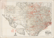 Texas Map By M. H. West  &  F.E. Gallup