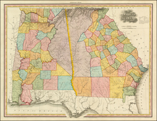 South, Alabama and Georgia Map By Henry Schenk Tanner
