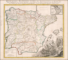 Spain and Portugal Map By Homann Heirs