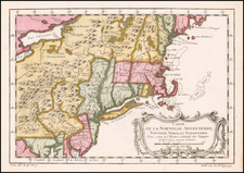 New England, Massachusetts, New York State, Mid-Atlantic and Pennsylvania Map By Jacques Nicolas Bellin