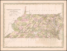 Maryland, Delaware, West Virginia and Virginia Map By Thomas Gamaliel Bradford