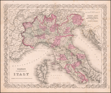 Europe and Italy Map By Joseph Hutchins Colton