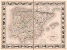 Spain and Portugal Map By Adolphe Hippolyte Dufour