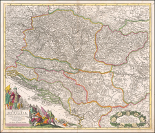 Hungary, Romania, Balkans, Croatia & Slovenia, Bosnia & Herzegovina and Serbia Map By Johann Baptist Homann