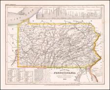 Neueste Karte von Pennsylvania mit seinen Canaelen, Strassen & Entfernungen der Hauptpunkte. Nach den bessten Quellen verbessert. 1845 By Joseph Meyer