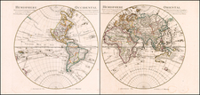 World, Eastern Hemisphere and Western Hemisphere Map By Johannes Covens  &  Pieter Mortier