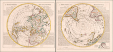 World, Northern Hemisphere, Southern Hemisphere and Polar Maps Map By Johannes Covens  &  Cornelis Mortier