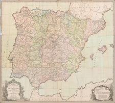 Spain and Portugal Map By Louis Charles Desnos
