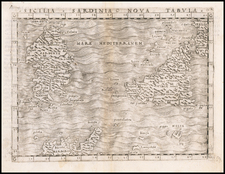 Malta, Sardinia and Sicily Map By Giacomo Gastaldi