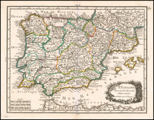 Spain Map By George Louis Le Rouge