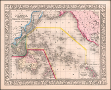 Pacific and Oceania Map By Samuel Augustus Mitchell Jr.