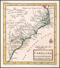 Southeast, North Carolina and South Carolina Map By Herman Moll