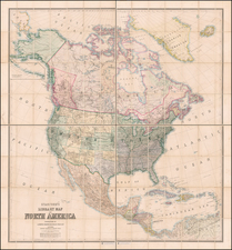 United States and North America Map By Edward Stanford