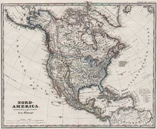 North America, Canada, Caribbean and Central America Map By Adolf Stieler