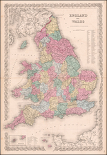 England Map By Joseph Hutchins Colton