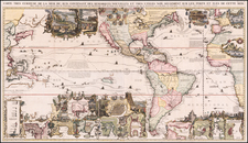 World, North America, South America, Pacific, California as an Island and America Map By Henri Chatelain